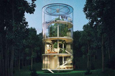 Ağaç çevresine inşa edilmiş tüp biçimli cam ev