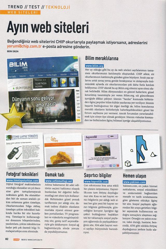 Bilim.org, CHIP dergisi Ağustos 2012 Ayın Sitesi