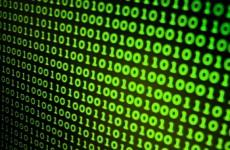 Binary code on a computer screen