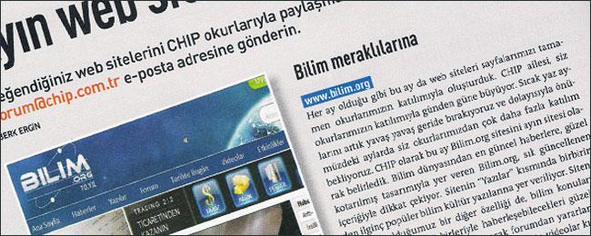 """Bilim.org, CHIP Ağustos 2012 """"Ayın Sitesi"""""""