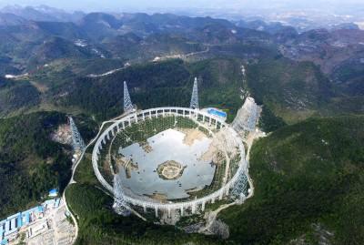 Dünyanın en büyük radyo teleskopu Çin'de şekillenmeye başladı