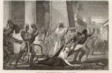 Hypatia öldürülmeye götürülürken, Louis Figuier (1866)