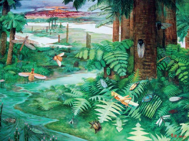Figür 2: Mezozoik Zaman'ın sonundan, böcek topluluğu ve bitki örtüsü illüstrasyonu (Çizim: Li Bo). Fosilleşmiş amberlerdeki milyonlarca yıllık böcekler antik dönemi yeniden canlandırmamızda bize yardımcı oluyor.