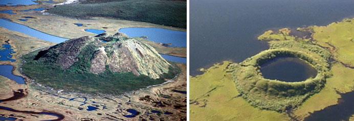 Solda: Kuzeybatı Kanada'da pingo. Sağda: Çökmüş pingo, Kanada  (3)